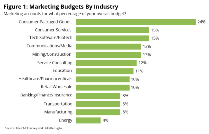 marketing budget by industry healthcare